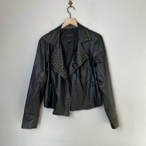 ROCK & REPUBLIC Womens Faux Leather Jacket Studded